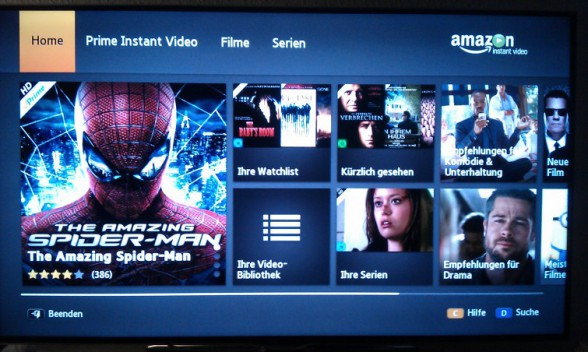samsung smart tv amazon prime instant video menu