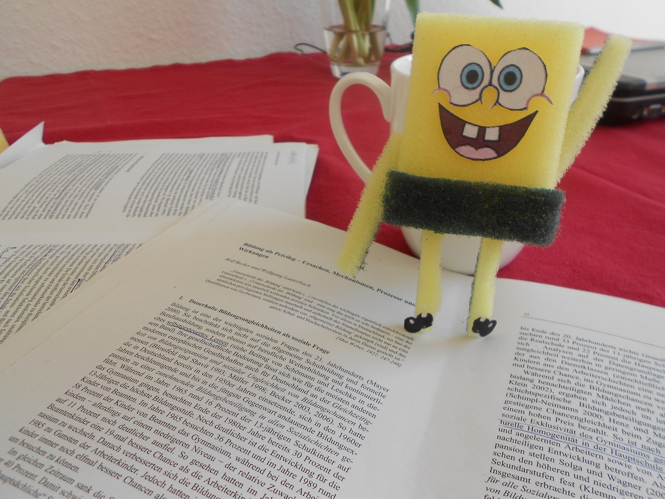 spongebob schwammkopf beim lernen